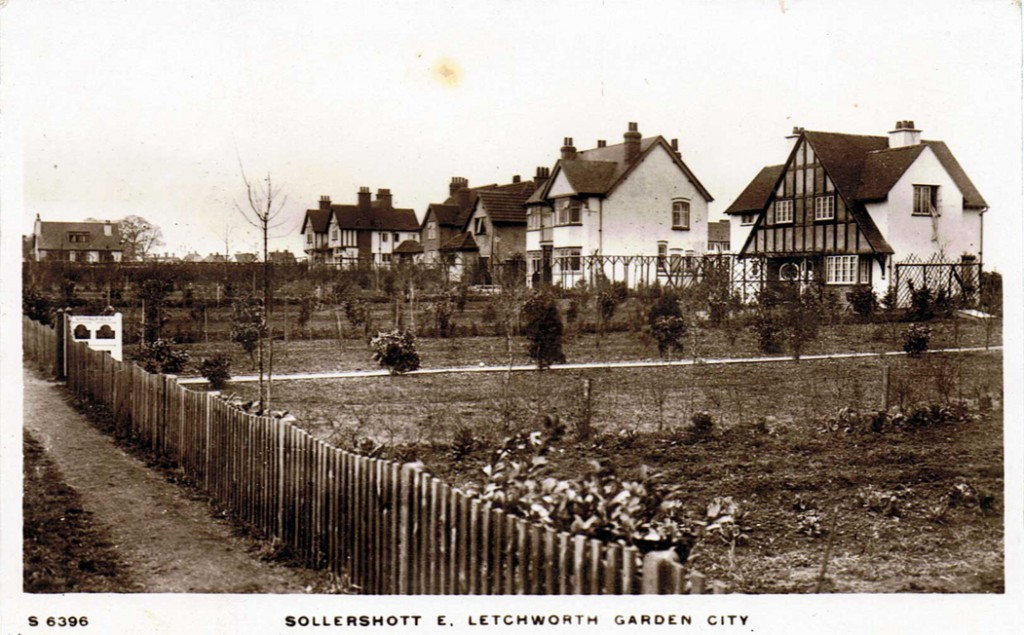 Garden Cities were to separate residential from industrial areas, feature many trees and open spaces, and be surrounded by belts of agricultural land. Payments for community services (rates) plus lease payments (rents) would create revenue for the co-operative and returns for its members. At Letchworth (left), cottage building competitions provided a venue to experiments with pre-fabrication, home garden plots, and new building materials. Photocredit: Kingsway Real Photo Series. Photo courtesy of Margaret Pierce.